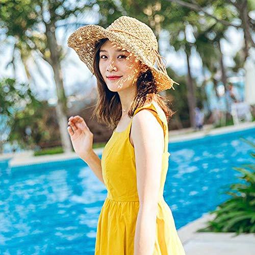 MU Chapeau de Soleil courbé en été pour Les Voyages en Plein air, créer Un Visage en Forme de V Pliable, Bord Large, Chapeau de Plage Bord de mer, Petit Chapeau de Paille Frais - Beige