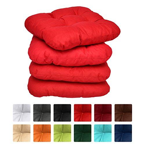 Beautissu Lot de 4 Galettes de chaise - coussins matelassés Lisa - 38x38x8cm - Rouge - Extra doux et confortable - decoratif