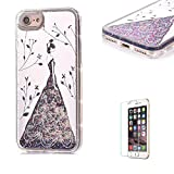 iPhone 6 Case ,iPhone 6S Glitter Case [with Free Screen Protector] ,Funyye Fashion Luxury Bling Hybrid Soft TPU Bumper with Silver Plating Dresses Girl Mirror Quicksand Flowing Floating Ultra Slim PC Hard Case for iPhone 6S/6 4.7