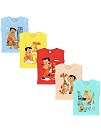 Chhota Bheem Baby Boy's Cotton Luke and Lilly Printed Round Neck Sleeveless T-Shirt