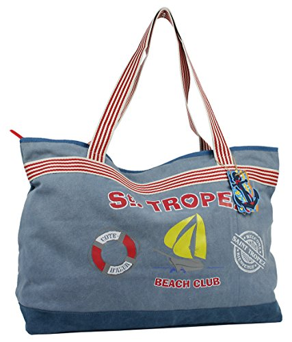 Strandtasche XXL Mit Reißverschluss 100% Baumwolle extra Groß und Leicht präsentiert von JeJo Bags® (beige)
