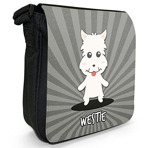 Scozzese Cartoon cani piccola borsa a tracolla tela nera, misura piccola Westie, Westy,Highland Terrier