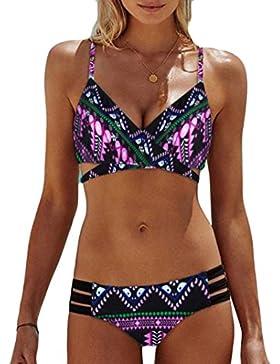 LuckyGirls Sexy Bikini Mujer Push Up Bandage Cruzado Bohemia Estilo Conjunto Dos Piezas Swimwear Beachwear Traje...