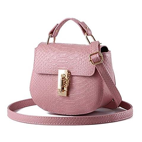 FOLLOWUS Damen Mode Leder Umhängetasche Mini Schulter Messenger Handtasche (Süßigkeiten rosa)