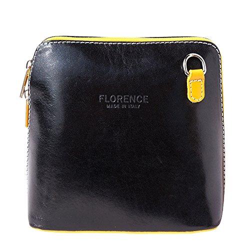 Mini Umhängetasche Dalida für Damen aus poliertem Leder Handtasche klein aus Italien Ledertasche Abendtasche Partytasche Freizeittasche Schwarz/Gelb