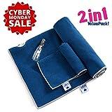 Yoga Handtuch von Iuga, extra dick, Yoga-Handtuch + Handtuch, Kombo-Set, Ecktaschen-Design um Ballung zu verhindern, 100 % Mikrofaser, rutschfest, super saugfähig, schnell trocknend, blau