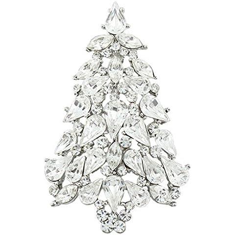 Ever Faith Albero di Natale lacrima austriaco della radura di cristallo spilla in argento-Tone A02339-2