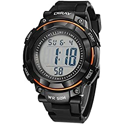 Unisex Sports Analog Digital Luminous Water Resistant Wrist Watches for Boys Girls(Orange)