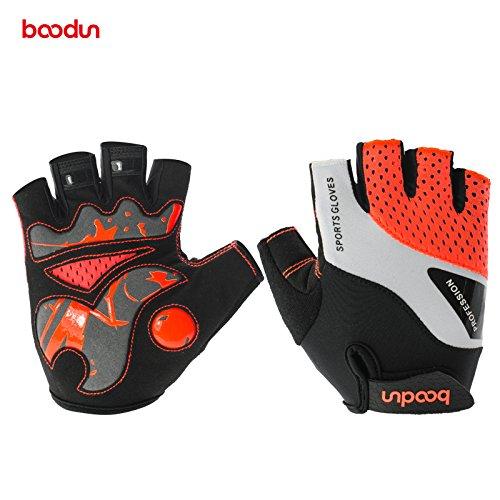 Radsport Handschuhe Halb Finger Fahrradhandschuhe Stoßdämpfung Fitness- und Trainingshandschuhe für Damen und Herren (Orange 1024, M)
