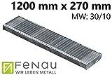 Fenau | Gitterrost-Stufe (R11) XSL – Maße: 1200 x 270 mm - MW: 30 mm / 10 mm - Vollbad-Feuerverzinkt – Stahl-Treppenstufe nach DIN-Norm | Fluchttreppen geeignet/Anti-Rutsch-Wirkung