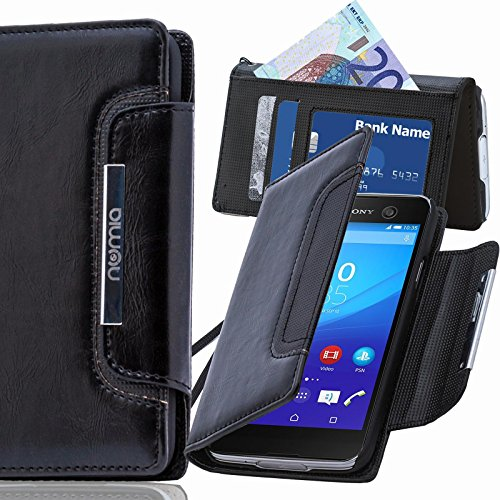 numia Sony Xperia E1 Hülle, Handyhülle Handy Schutzhülle [Book-Style Handytasche mit Standfunktion und Kartenfach] Pu Leder Tasche für Sony Xperia E1 Dual Case Cover [Schwarz]