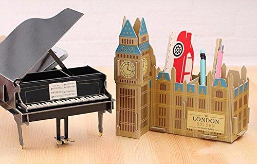 Demarkt Aufbewahrungsbox Organizer Cartoon Papier Schreibtisch Aufbewahrungsbox Schwarzes Klavier für Handy Kugelschreiber DIY - 3