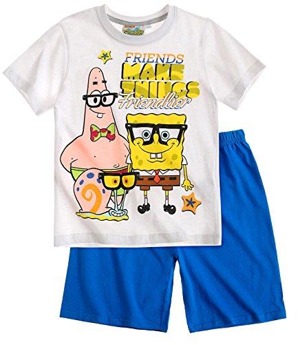 Sponge Bob Jungen Shorty-Pyjama - weiß - 140