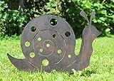 Nostalgic Garden Gartendeko Gartenstecker Schnecke zum Stecken Edelrost Rost Deko Design - D + 1 x Holzherz