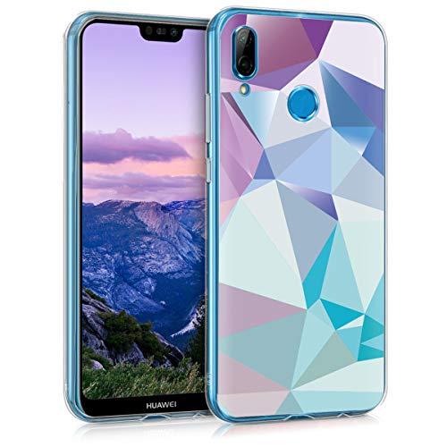 kwmobile Huawei P20 Lite Cover - Back Case per Huawei P20 Lite Custodia in Silicone TPU Trasparente Blu Chiaro/Rosa/Blu