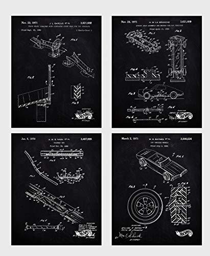Wall Art Home Decor Mattel Hot Wheels Patent Poster Prints Set of 4 Size A4 (21cm x 29xm) Unframed for Mattel Hot Wheels Lovers N1 ...