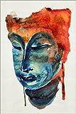 Posterlounge Acrylglasbild 80 x 120 cm: Buddha-Aquarell von Editors Choice - Wandbild, Acryl Glasbild, Druck auf Acryl Glas Bild