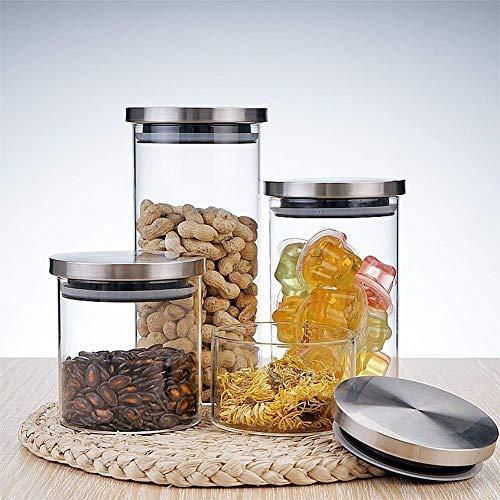 Glasgläser mit Edelstahldeckel Home Storage Flaschen Container Küche Gewürz Versiegelt Bulk Candy Mason Jar (Mason Deckel Bulk Jar)
