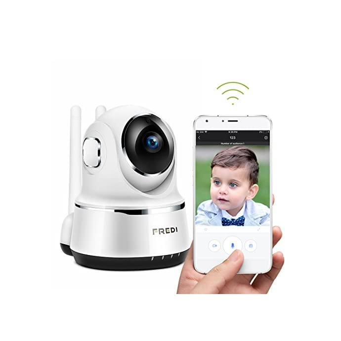 Wireless Camera, FREDI WiFi IP Camera 720P Home Surveillance Security  Camera, Baby Monitor with P2P, Motion Detection Alert, Two-Way Audio &  Night
