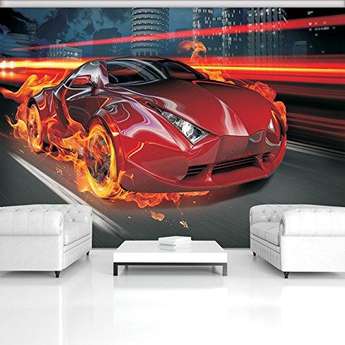 FORWALL Fototapete Tapete Rotes Auto im Feuer P4 (254cm. x 184cm.) Photo Wallpaper Mural AMF132P4 Gratis Wandaufkleber Rot Wagen Autos Sport Ungestüm Transport