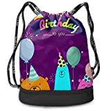 PmseK Turnbeutel Sportbeutel Kordelzug Rucksack, Bears Balloon Draw String Bags Sack Pack Cinch...