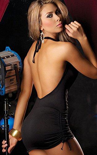 Ostenx Sexy Nachtkleid Nachthemd Reizwäsche Dessous Babydoll Unterwäsche V-Ausschnitt Rückfrei (Schwarz)
