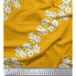 Soimoi Oro rayo de crepé Tela azalea y lunares puntos tela artesanal impresa por metro 46 Pulgadas de ancho