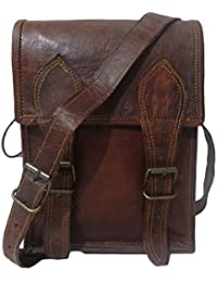 Madosh Vintage Real Leather Small Size Crossbody Messenger Satchel Sling Bag Unisex 9""