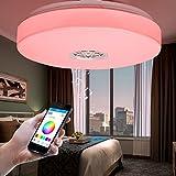 Autai Deckenleuchte 24W RGB Farbwechsel Dimmbar mit Smart Bluetooth Lautsprecher Timer und Handy APP für Wohnzimmer, Schlafzimmer, Balkon