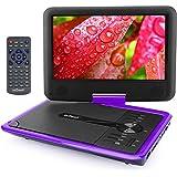 """ieGeek 9.5 """"Reproductor de DVD Portátil, para Niños / Ancianos, CD MP3 Multimedia Video, 2500mAh Batería Interna, con Cargador de Coche y Joystick de Juego, púrpura"""