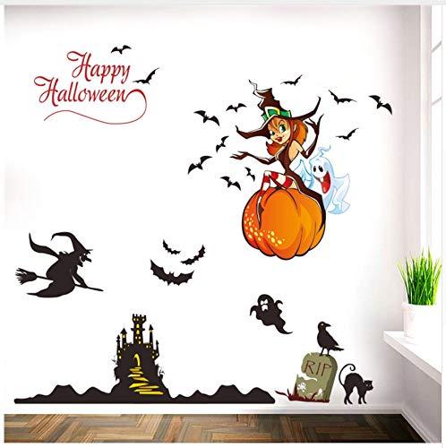 Hajksds adesivi murali parete zucca lanterna strega fantasma pipistrelli castello adesivi murali decorazioni di halloween casa decalcomanie festival arte murale poster regalo per bambini