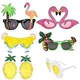 6 Paar lustige Brille Sommer Party Sonnenbrille Kostüm Brille für Männer Frauen Kinder, cool geformte lustige Partyhüte, Hawaiianische Tropische Brille, Luau Kostüm-Party Suppply, Strand Foto Booth