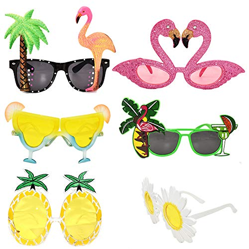 6 Paar lustige Brille Sommer Party Sonnenbrille Kostüm Brille für Männer Frauen Kinder, cool geformte lustige Partyhüte, Hawaiianische Tropische Brille, Luau Kostüm-Party Suppply, Strand Foto Booth