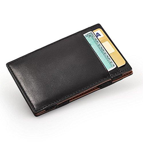 HC Handel Magic Wallet Echtleder Geldbörse/Portemonnaie schwarz/cognacfarben