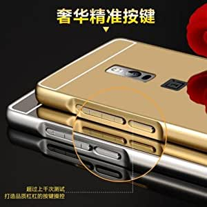 Febelo Branded Luxury Metal Bumper Acrylic Mirror Back Cover Case For OnePlus 2 - Gold Plated