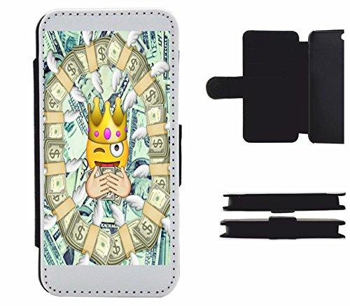 """Leder Flip Case Apple IPhone 6/ 6S """"Reicher Smiley mit Dollar Euros König"""", der wohl schönste Smartphone Schutz aller Zeiten."""