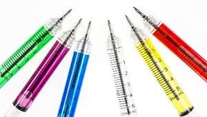 6 stylos en forme dr seringue - idéale pour s'habiller comme infirmière!