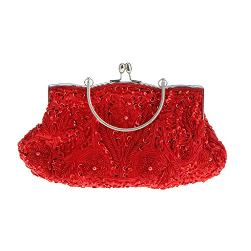Generic Donne Nuziale Matrimonio Pochette da Giorno Perline Borsa Portafoglio Borsetta per Prom Cocktail Partito Rosso