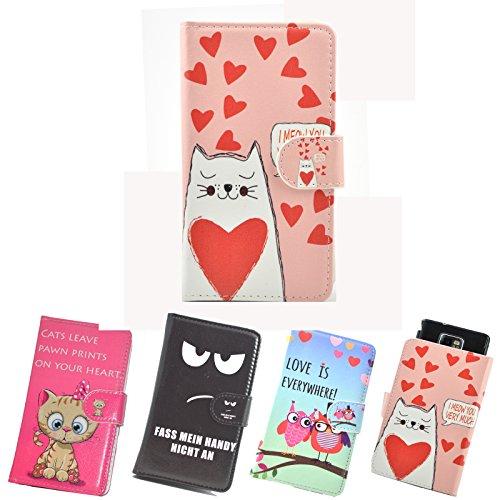 ikracase Slide Motiv Hülle für Medion Life E5008 Smartphone Handytasche Handyhülle Schutzhülle Tasche Case Cover Etui Design 5 - Katze I love you