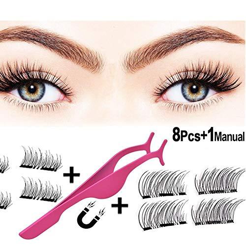 Dicke Wimpern Natürliche Wimpern 3 magnetische Wimpern Multilayer-Flauschig lange Wimpern Magnetische gefälschte Wimpern Handgefertigte Wimpern pink -