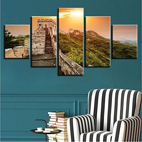 Gemälde Modulare 5 Stücke Chinas Berühmte Chinesische Mauer Sonnenuntergang Landschaft Poster Bilder Decor Wandkunst Raum HD Gedruckt Leinwand