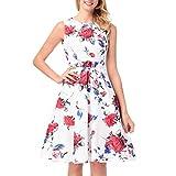UFACE Damen Kleider Retro Rose Druck Kleid Robe Vintage Swing Lässige Vintage Sleeveless Swing Kleider