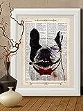 Stampa bulldog francese fumatore su pagina di libro antico