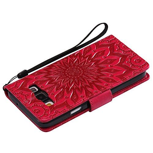 Für Samsung Galaxy A3 Fall, Prägen Sonnenblume Magnetic Pattern Premium Soft PU Leder Brieftasche Stand Case Cover mit Lanyard & Halter & Card Slots ( Color : Red ) Red