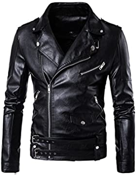 QIYUN.Z Hombres Cinturón Diseño Negro Pu Cuero Motociclista Motocicleta Cremallera Chaqueta Abrigo