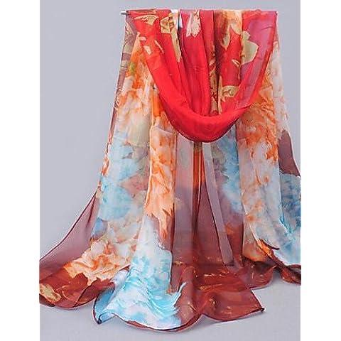Xoe LE colorido patrón de flores mujeres chal de protección solar pañuelo de gasa marrón , screen color