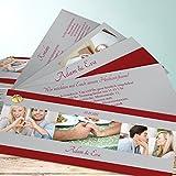 Einladung Hochzeit, Ja, ich will 200 Karten, Kartenfächer 210x80 inkl. weißer Umschläge, Rot