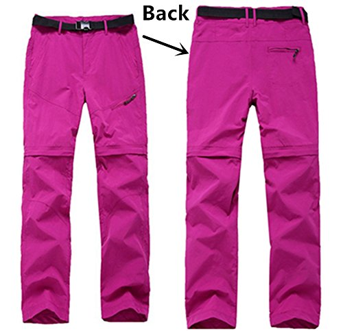 SANKE Outdoor Womens Quick Dry Chemises avec pantalons Imperméable Convertible Hiking Cargo 2PCS SET Rose Red