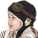 Bambini inverno caldo cappello ragazzo caldo cappello con paraorecchie pilota Aviator Cap con occhiali modello Black