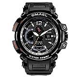 SW Watches SMAEL Herrenuhren Digitaluhr Waterproof Sport Armbanduhren Stoppuhr Führte Armbanduhr,A